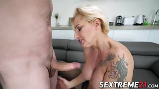 Horny guy always wanted to drill hot blonde granny
