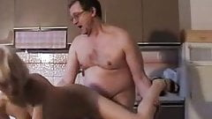 Old dude fucked a blonde babe in the kitchen