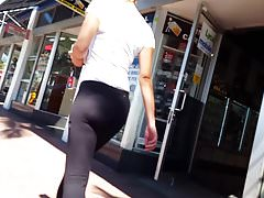 Candid voyeur gorgeous fitness girl walking street, booty