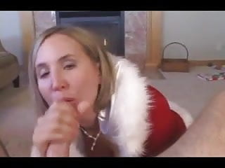Blonde Milf sucks younger cock for facial, talks to him