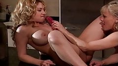 Hot Blonde Lesbians Have Fun In The Kitchen