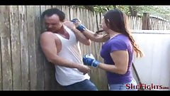 Cindy Breaks a Fighter - Outdoor Beatdowns and Facebusting's Thumb
