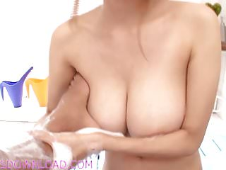 Busty asian with natural huge boobs