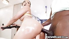 Busty ebony Adriana Maya oils up for anal exercise by BBC