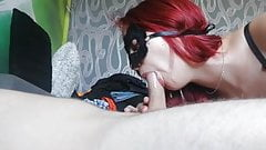 Masked redhead wife suck's Thumb