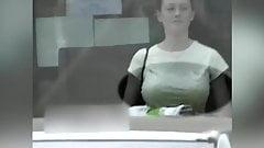 candid - cute brunette big bouncy tits