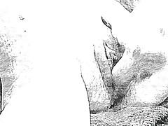 Pencil Sketch Up Close Dildo Until Squirt