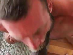 Bearded daddie suck black cock
