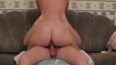 Curvy girlfriend rides boyfriend on the sofa