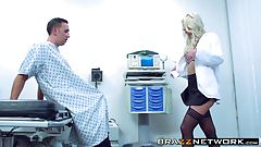 Amazing blonde Brooke Brand getting pleasured by her patient