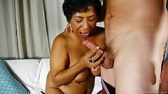Beautiful busty black oldspunker loves cum all over her tits