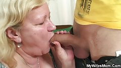 Slim dude fucks huge granny inlaw