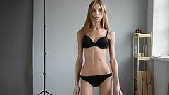 Extremely skinny girl in castings