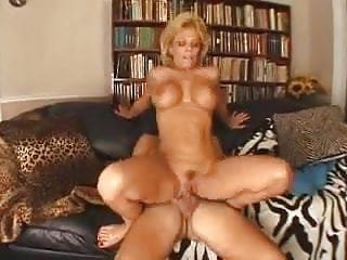 Mature blonde lady fucks a younger guy