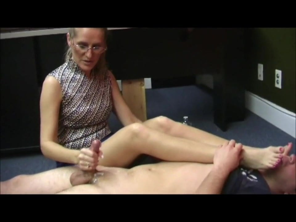 Nylon Feet Worship Handjob