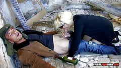 Seductive blonde fucked hard in an abandoned building