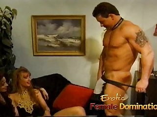 Kinky muscular stud has his dick tugged on by two sexy bimbo