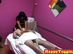 Oriental masseuse sixty nines client on spycam