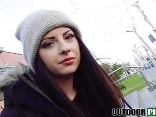 Hot Euro teen Rebecca Volpetti ass fucked in public POV