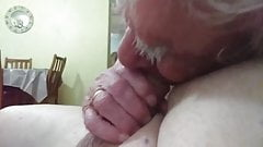 Danielle (Old 84yo) TV sucking Rob's cock (Part 3)