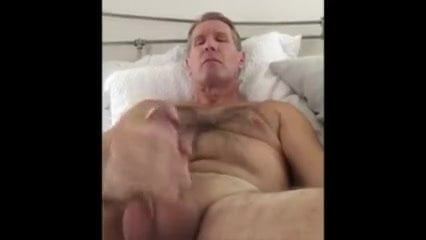 dad wanks his cock