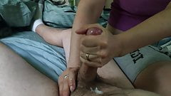 Nipply wife strokes my cum out all over her hands