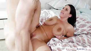 Angela White's big natural tits take over! Naughty America