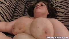 Hugetits BBW gets both of her holes drilled