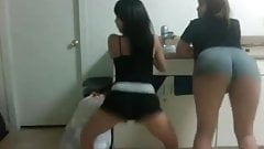 2 Sexy horny Young Asian Girls Shaking Their Asses 2