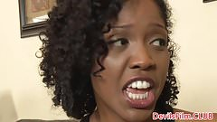 Tattooed ebony babysitter has teen ass fucked