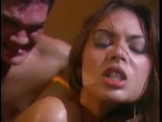Hot Asian licks and sucks a hard white cock