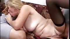Mature Blonde Enjoys 2 Cocks And Eats Spunk