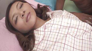 Nasty and pervert dark haired babe Minako Uchida stripping o