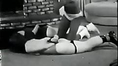 Vintage Black mistress spanking two white girls