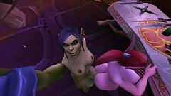 Blood elf grinding on futa orc