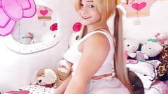 Blonde teen shemale on webcam