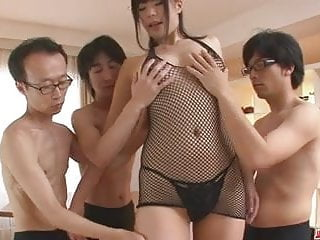 Boys getting blow jobs - Three guys get a japanese girl blow job from saki aoyama