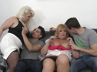 Hairy and shaved matures fuck young boys