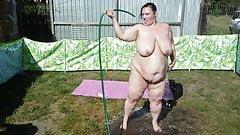 bbw wife washing of babyoil #2