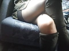 Pantyhose upskirt under table in train