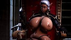 TES Elf showing off her Big Tits 3D Hentai (Ecchi)