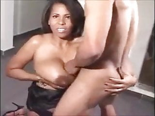 Black whore with giant saggy natural boobs