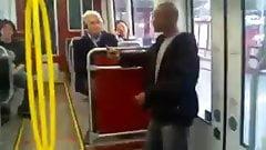 Naked woman on train screaming racial slurs
