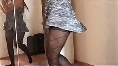 Girl dances showing pantyhose