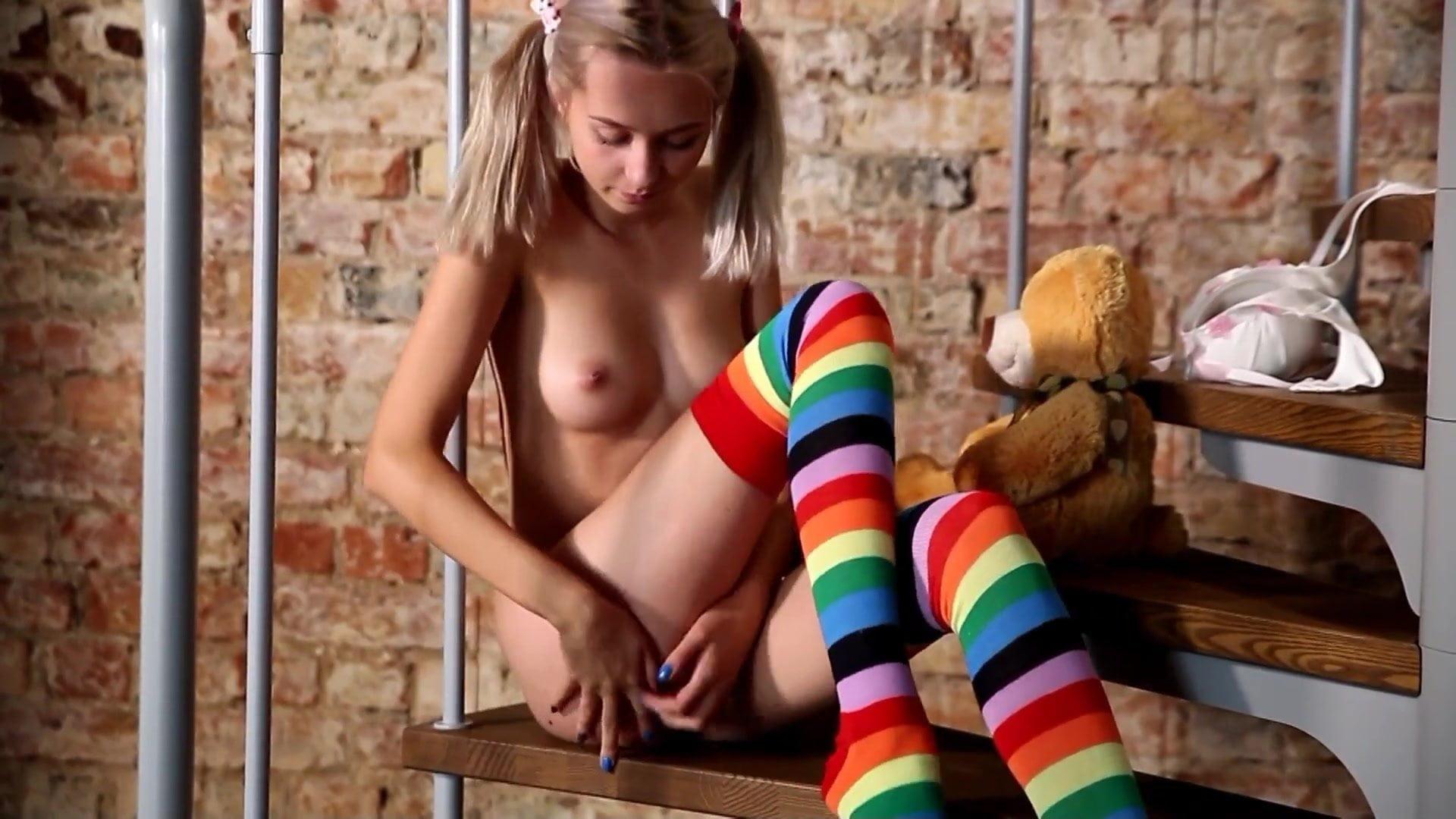 Blonde girls in striped socks-3591