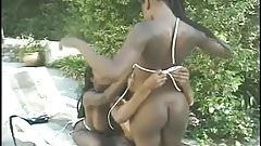 3 Ebony Lesbians kiss and fuck eachother with white dildo