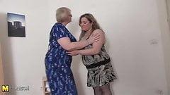Two chubby mature lesbians fuck