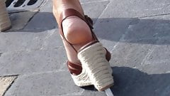 Candid hot mature feet in wedges heels (part1)