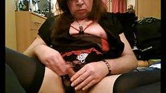 Circumcised Tranny Slut rubs her small  cock in panties