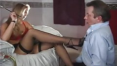 Mistress smoking in face